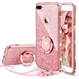 OCYCLONE iPhone 8 Plus Case, iPhone 7 Plus Case, Cute Glitter Luxury Diamond Rhinestone Bumper with Ring Grip Kickstand Prote