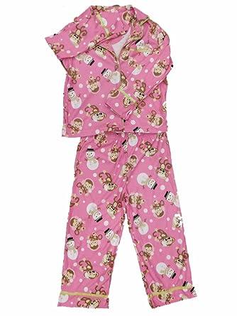 e235973851d5 Girls Pink Monkey & Snowman Pajamas Christmas Holiday Flannel Sleep Set XS  ...