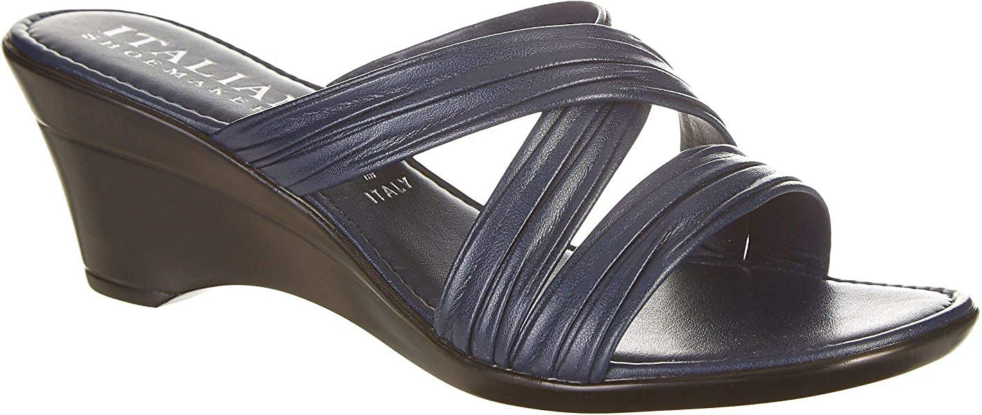 68d6e19175bc ITALIAN Shoemakers Womens Cruise Wedge Sandals 5 Navy Blue
