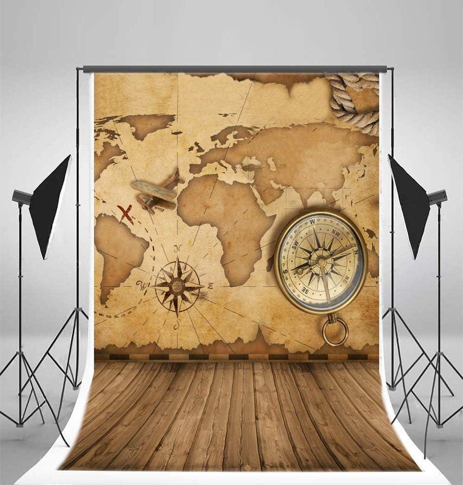 Vintage World Map Compass Wood Backdrop GoEoo 5x7ft Vinyl Thin Photography Background Vintage Wood Floor Backdrop,1.5x2.2m Studio Props
