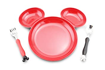 Finex Mickey Mouse Head Shape BPA free Plastic Plate with spoon and fork set (Red  sc 1 st  Amazon.com & Amazon.com: Finex Mickey Mouse Head Shape BPA free Plastic Plate ...