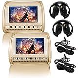 Elinz 2X 9 Headrest DVD Player Car Monitor Pillow Games 1080P USB/SD Output Zipper Cover Speakers FM Transmitter IR…
