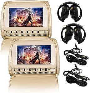 Elinz 2X 9 Headrest DVD Player Car Monitor Pillow Games 1080P USB/SD Output Zipper Cover Speakers FM Transmitter IR Receiver Secondhand Signal Adjustable Poles (Beige)