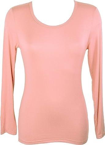 Miss Rojo: Camiseta de manga larga para mujer, viscosa Vieux Rose Talla única: Amazon.es: Ropa y accesorios