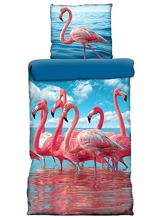 Premiumshop321 Mako Satin Wende Bettwäsche 135x20080x80 Flamingo