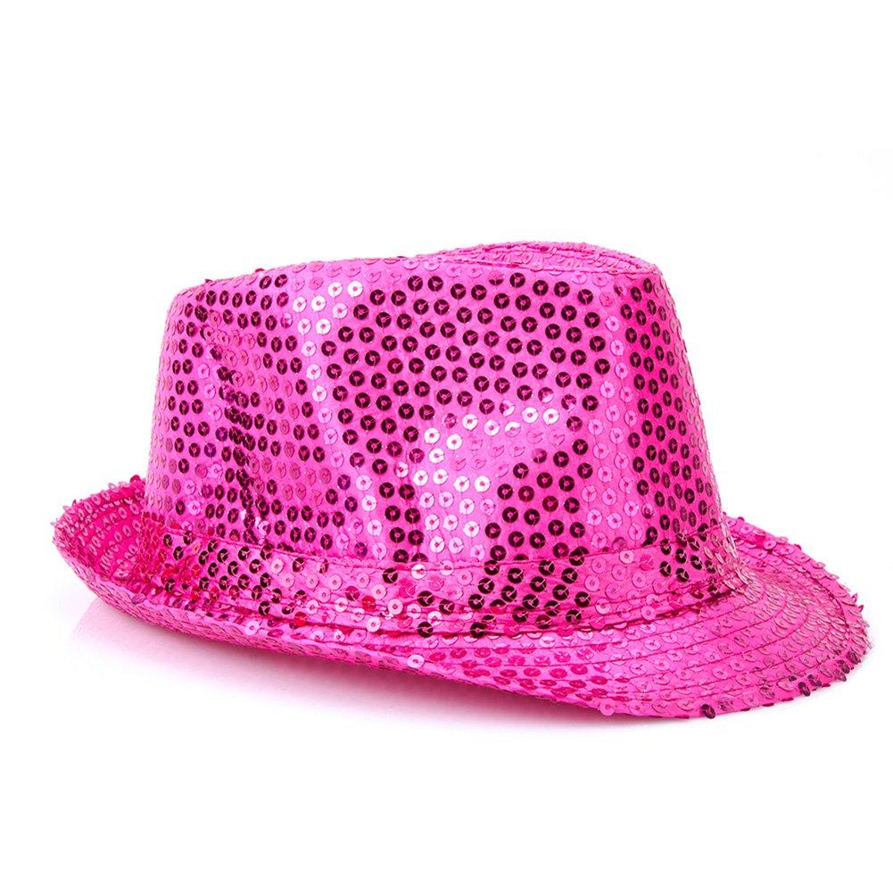 61562fe66 YQ Unisex Sequin Trilby Fedora Hat Sparkle Glitter Adult Size ...