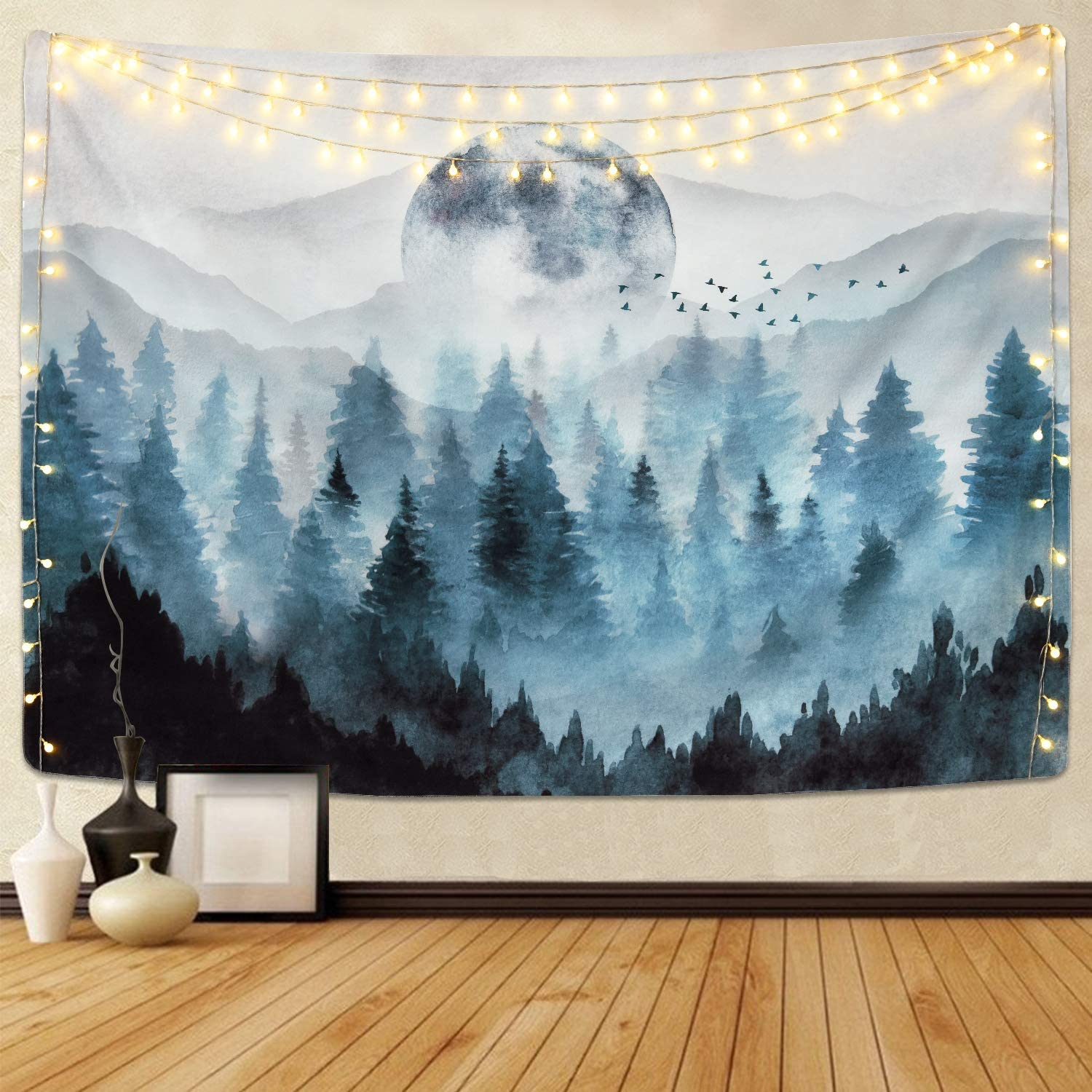 Likiyol Foggy Forest Tapestry Misty Mountain Tapestries Magical Nature Tapestry Fog Tree Tapestry Woodland Landscape Tapestry (Grey, 59.1 x 82.7 inches)
