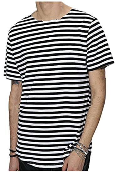 866c0aedce Amazon.com: Vemubapis Mens Classic Stripes Crew T Shirt Youth Loose Fit  Tee: Clothing