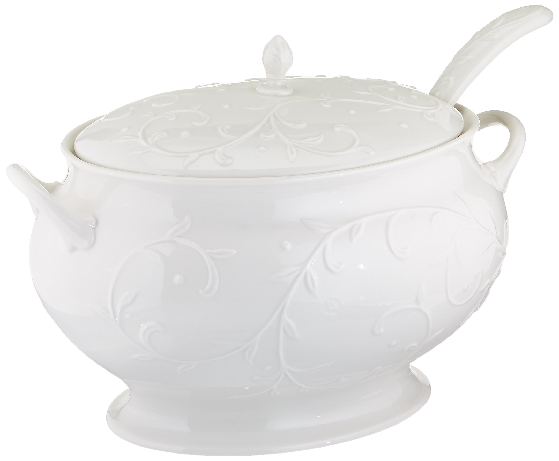Lenox Opal Innocence Carved Covered Soup Tureen with Ladle, 10-1/4-Inch, White - 830294 by Lenox