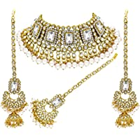 Aheli Brdal Kundan Faux Pearl Choker Necklace with Earrings Maang Tikka for Women Girls Indian Traditional Jewelry Set