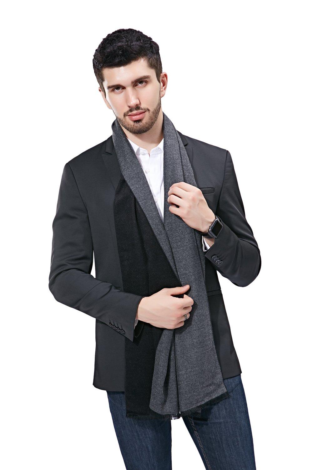 FULLRON Men Cashmere Scarf Cotton Scarves - Reversible Design, Black&Gray