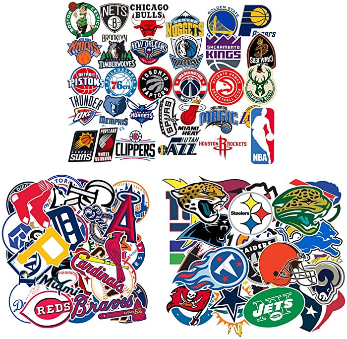 Ratgoo Water Bottle Hydro Flasks Vinyl Stickers for 30 Pcs MLB Baseball 31 Pcs NBA Basketball 32 Pcs NFL Football Teams Logo for Baby Toddler Kids Boys Children Students