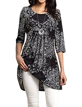203ac2ec288 Popilover Womens Casaul 3 4 Sleeve Floral Tunic Pleated Tops at ...