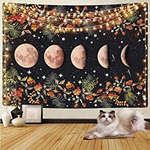 "Moonlit Garden Tapestry - Moon Phase Tapestries, Cestbin Flower Vine Plant Tapestry Black Starry Night Sky Star Colorful Floral Tapestry Wall Hanging for Living Room Bedroom Dorm (Black, 59.1"" x 78.8"")"