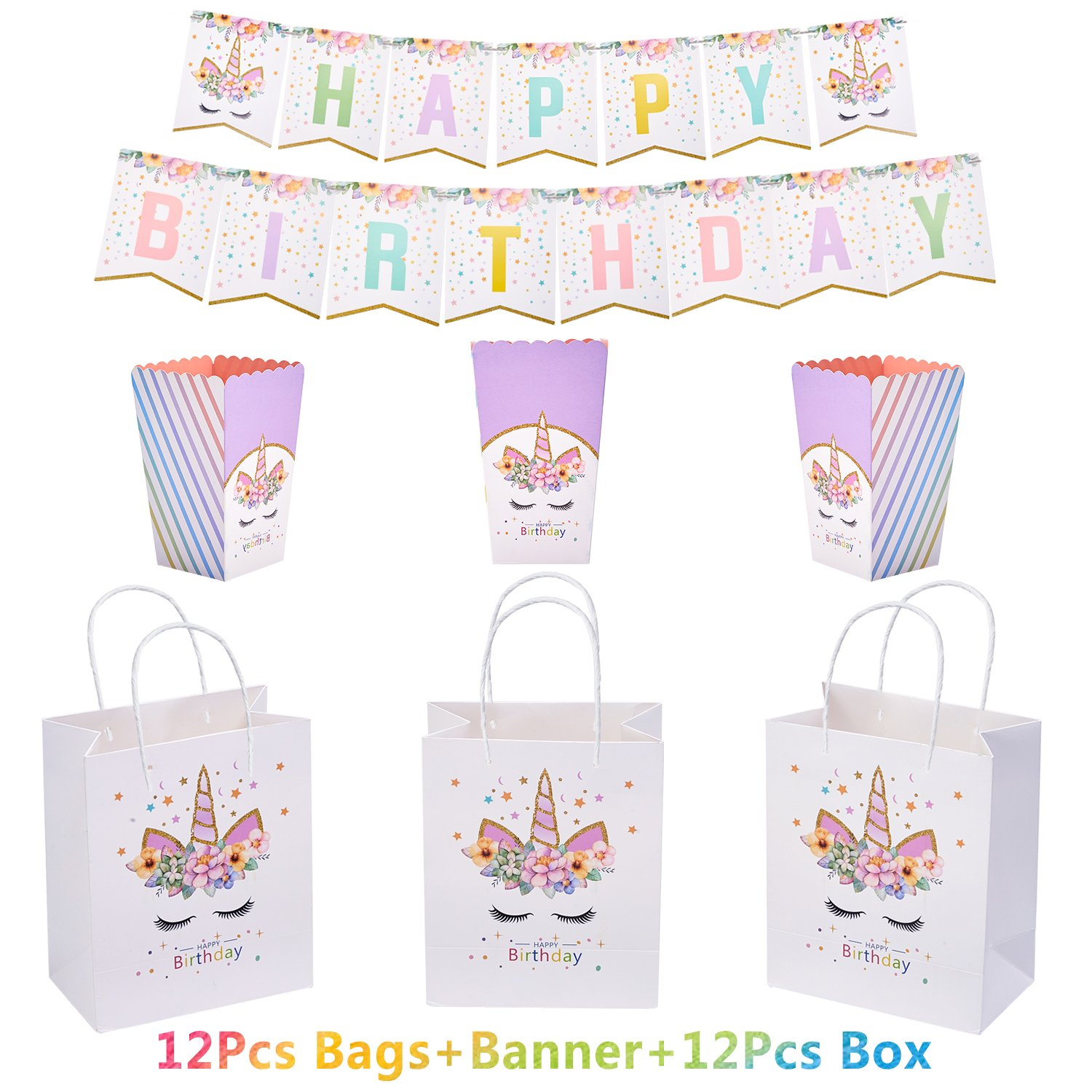 Unicorn Party Supplies 12pcs Unicorn Gift Bags with 12pcs Popcorn Treat Boxes and Happy Birthday Bunting Banner Rainbow Unicorn Themed Party Favors Decorations For Cute Fantasy Birthday Party Supplies