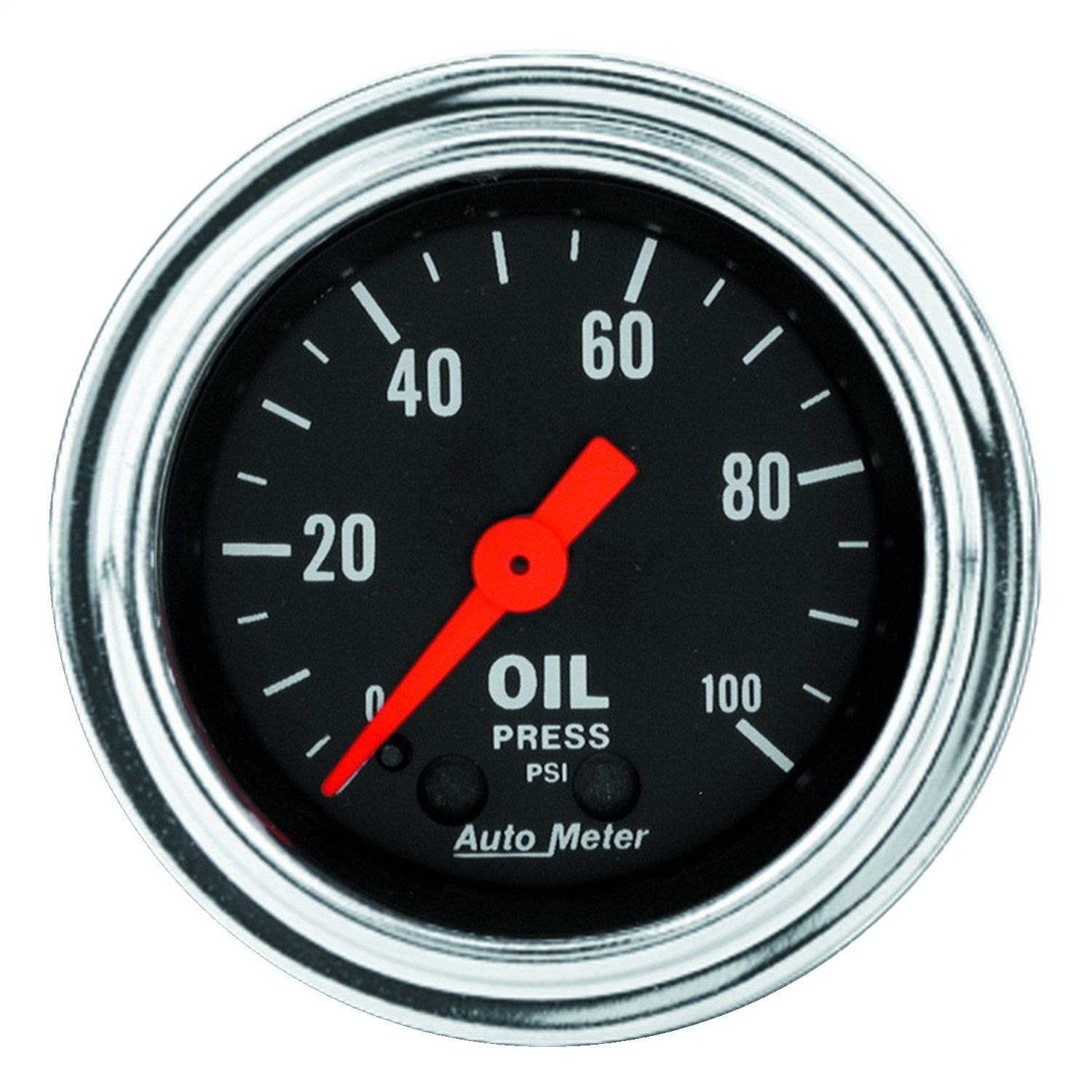 Auto Meter 2421 Traditional Chrome 2-1/16' 0-100 PSI Mechanical Oil Pressure Gauge