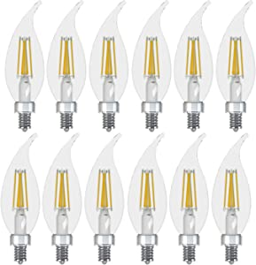 GE Lighting 23265 Dimmable Decorative Soft White LED 6.5 (60-watt Replacement), 500-Lumen Bent Tip Light Bulb with Candelabra Base, 12-Pack
