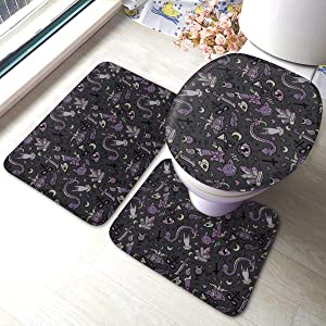 Purple Black Goth Spooky Soft Bathroom Rugs Set 3 Pcs Non Slip Absorbent Bath Mats U-Shaped Contour Rug Mat & Toilet Lid Cover Set
