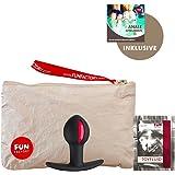 Fun Factory B BALL UNO schwarz/rot Analkugel mit einer rotierenden Kugel im Inneren (Set inkl. tollen Zubehör) Analplug für Anfänger Analspielzeug