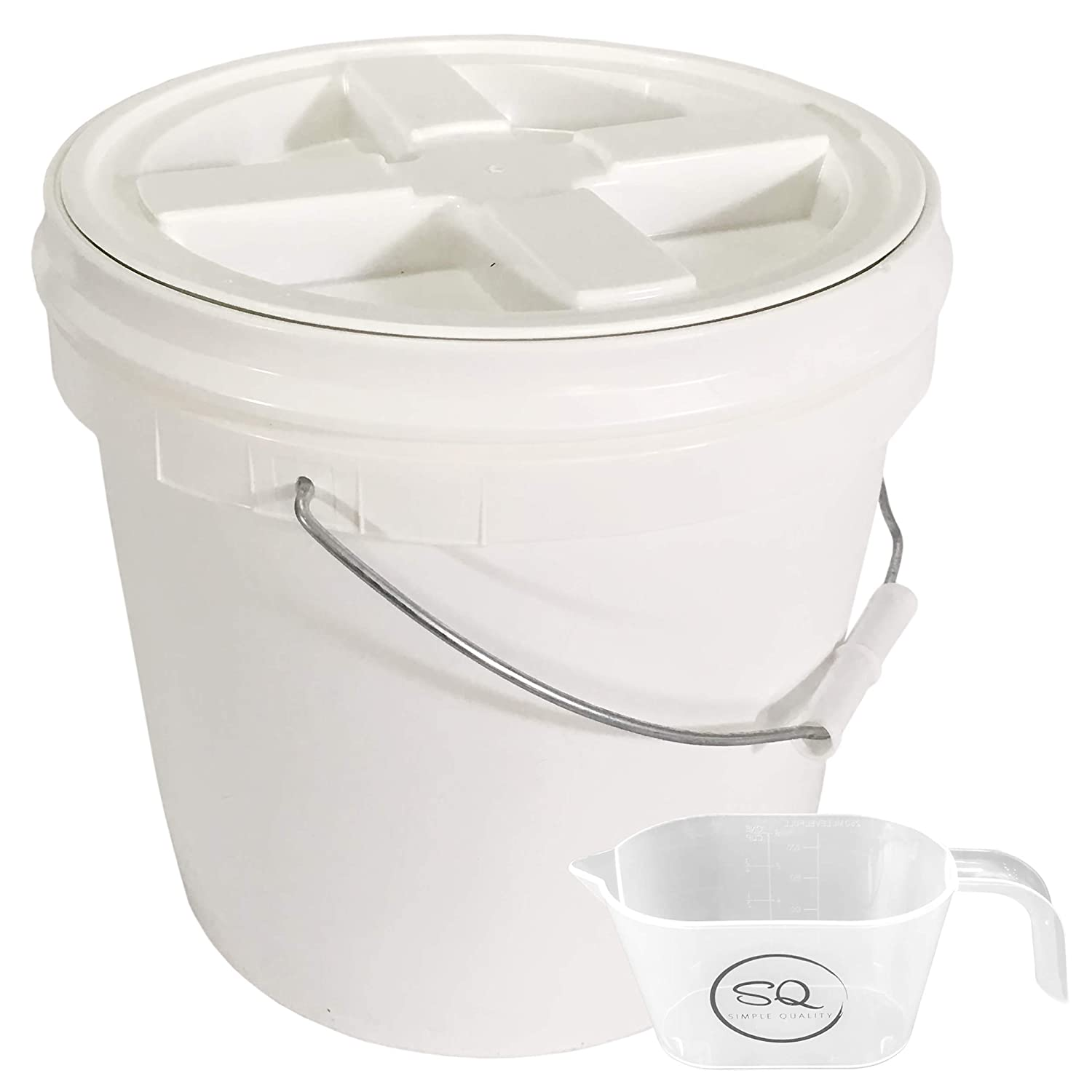 2 Gallon Food Grade BPA Free Letica Bucket with Gamma Seal Lid - Lid Has Been Installed To The Bucket - Bundle And A One Cup Measuring Cup with Simple Quality Logo