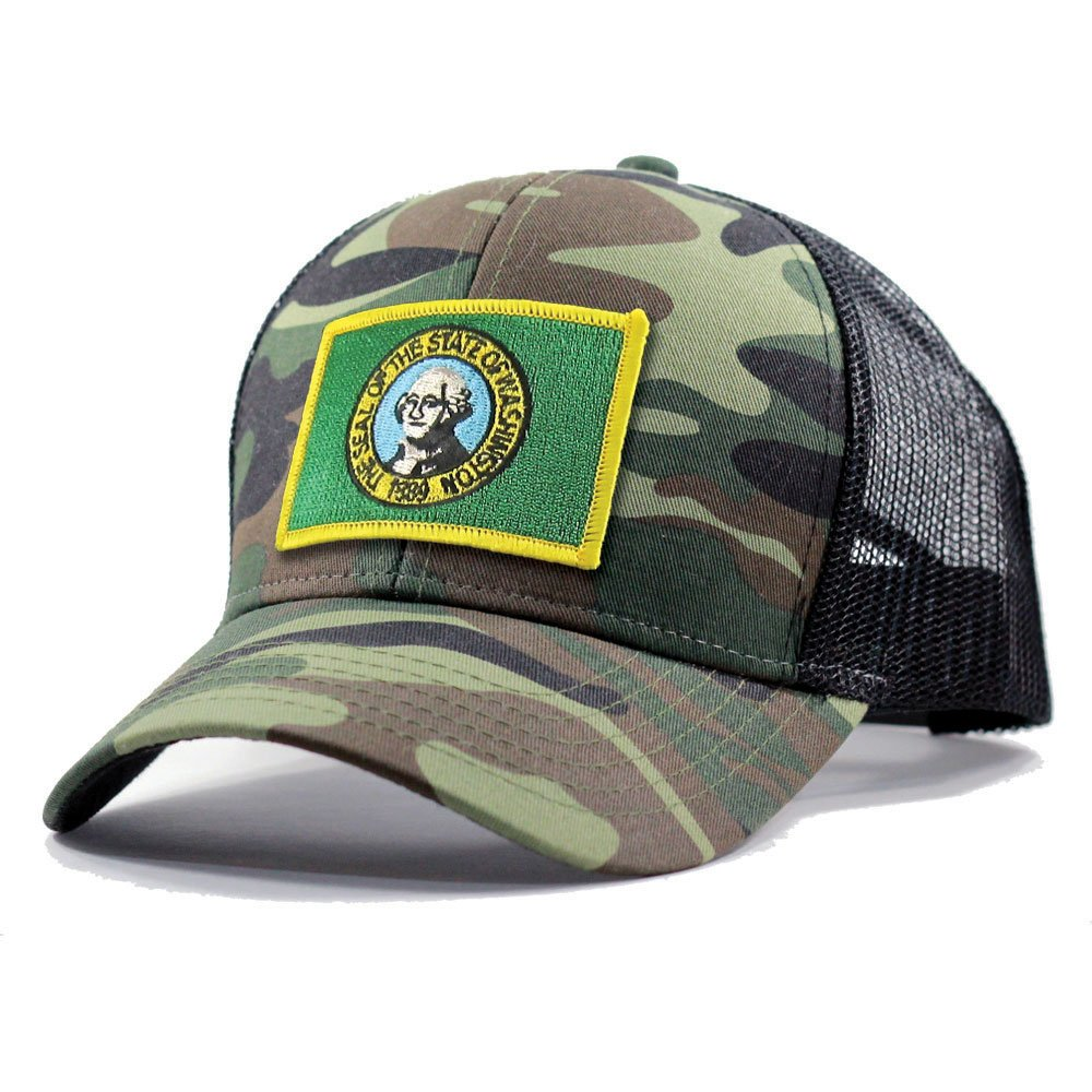 Homeland Tees Mens Washington Flag Patch Army Camo Trucker Hat