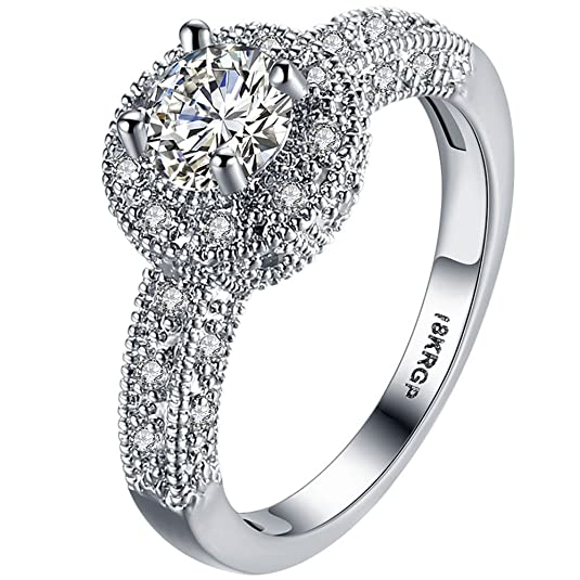 Review AWLY Jewelry Womens 18K White Gold Plated Round 2ct Cubic Zirconia Solitaire Promise Eternity Ring Engagement Wedding Anniversary Gift Band for Her