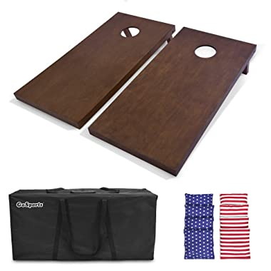 GoSports 4'x2' Regulation Size Wooden Cornhole Boards Set   Includes Carrying Case and Over 100 Color Options for Bean Bags