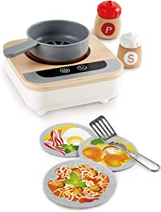 Hape Fun Fan Fryer | Wooden Tabletop Stove with Fan, Kitchen Playset for Preschoolers, Includes Salt and Pepper Shakers, Six Recipes and More, (Model: E3164)