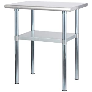 Rockpoint Carmona Tall NSF Stainless-Steel Kitchen Work Table with Adjustable Shelf, 30 x 23 Inch