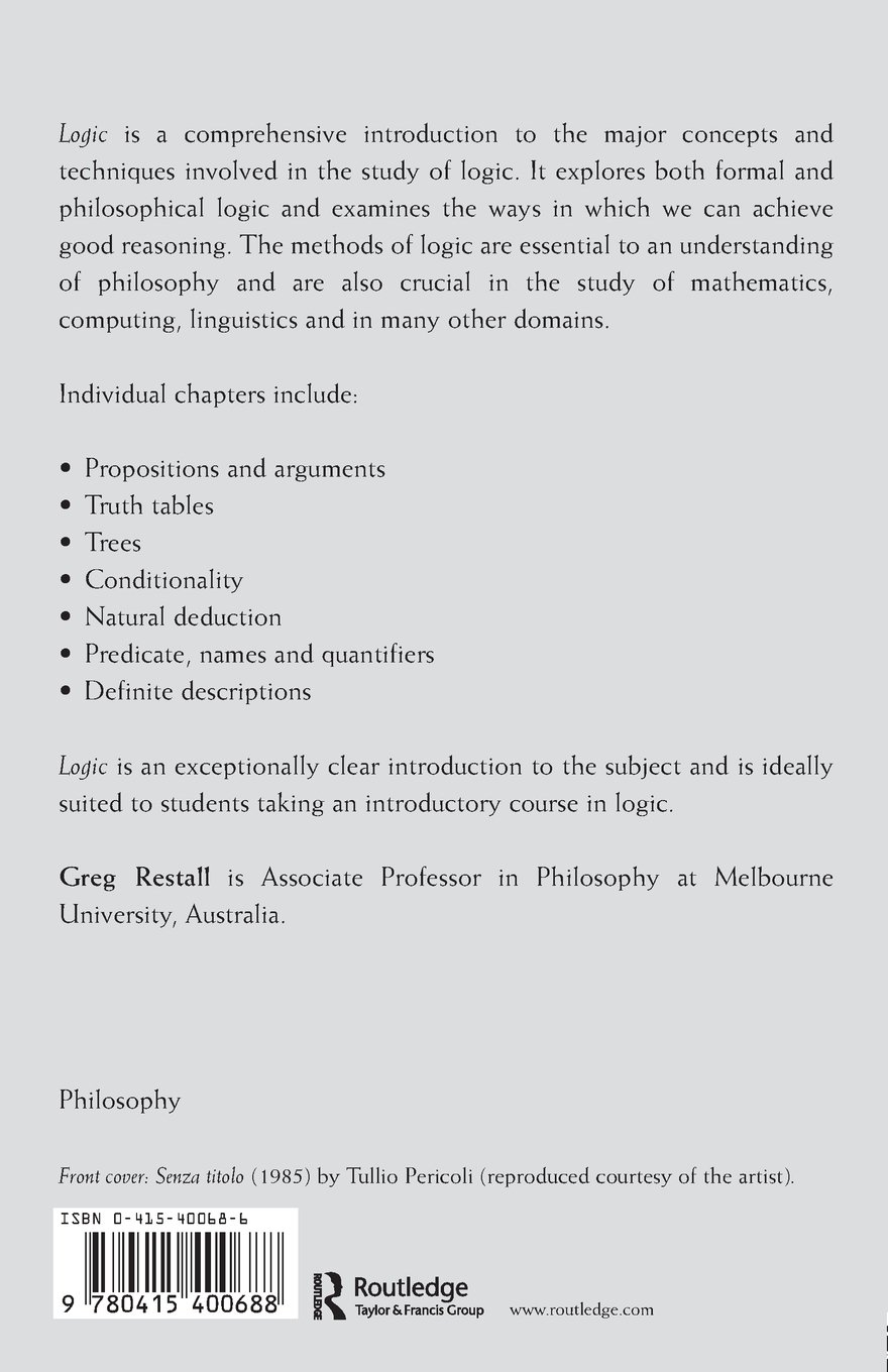 Logic An Introduction Fundamentals Of Philosophy Greg Restall