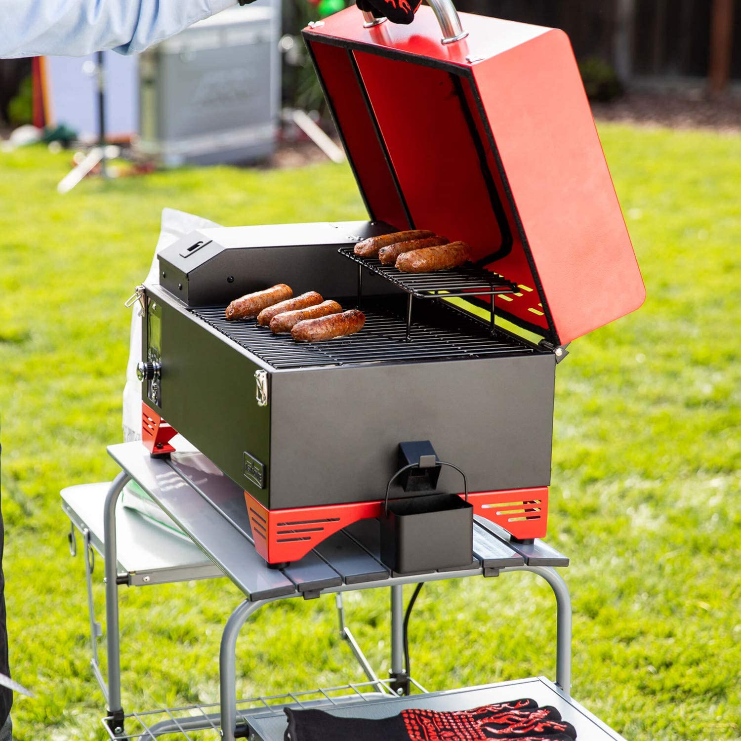 Pine Green Includes Waterproof Grill Cover and Meat Probe 8 in 1 BBQ Grill Set AS300 Cooking Area ASMOKE Portable Wood Pellet Grill and Smoker with Auto Temper Control 256 Sq in