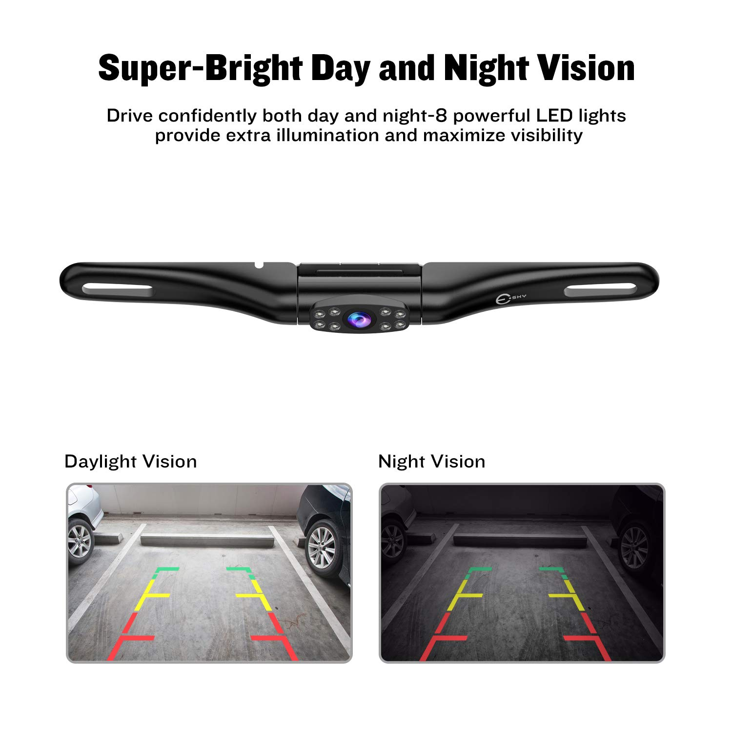 Black Esky Car Backup Camera 180 Degree Wide Angle Night Vision Waterproof HD CMOS Vehicle Car Rear View Camera EC180-35 4332971842 Support Front View