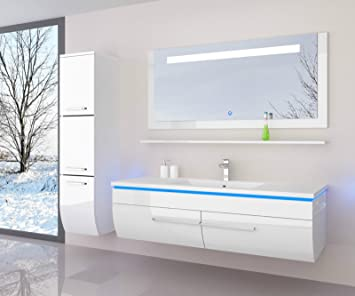 Badezimmermöbel doppelwaschbecken  Weiss 120 cm 1xHängeschrank Badmöbel Set Waschbecken Spiegel 70 cm ...