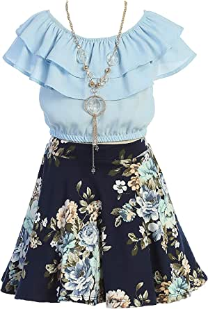 iGirlDress Girls Off Shoulder Crop Ruffle Layered Top and Skirt Set Outfit USA 4-14
