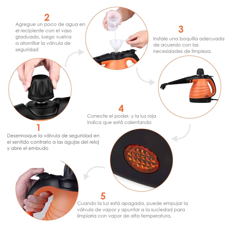 SIMBR Limpiador a Vapor de Mano Vaporeta Portátil y Manual de Alta Presión, 1050W con Tanque de 350ml y 9 Accesorios para Cocina, Baño, Alfonbra, ...