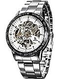 Alienwork IK Armbanduhr Automatik Uhr Skelett Automatik Mechanische Edelstahl weiß silber 98226–02