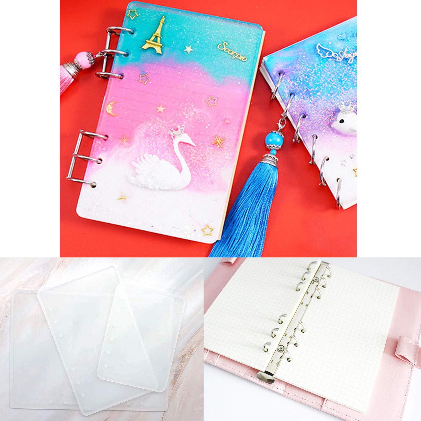 Markeny 3 Pieces Notebook Cover Resin Casting Molds for A5 A6 A7 for Notebook Epoxy Resin DIY