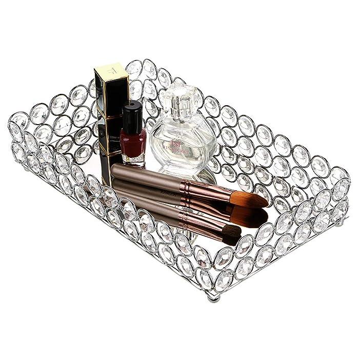 Hipiwe Crystal Cosmetic Makeup Tray, Mirrored Vanity Jewelry Decorative Tray Organizer for Perfume, Toiletries,Trinket, Home Decor Tray for Dresser/Vanity Table, Bathroom