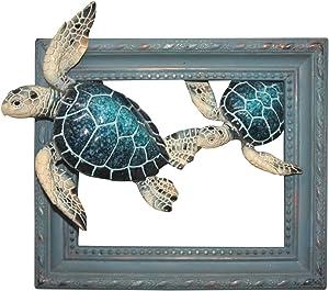 "Comfy Hour 7"" Turtle Coastal Ocean Theme Wall Decorative Frame"