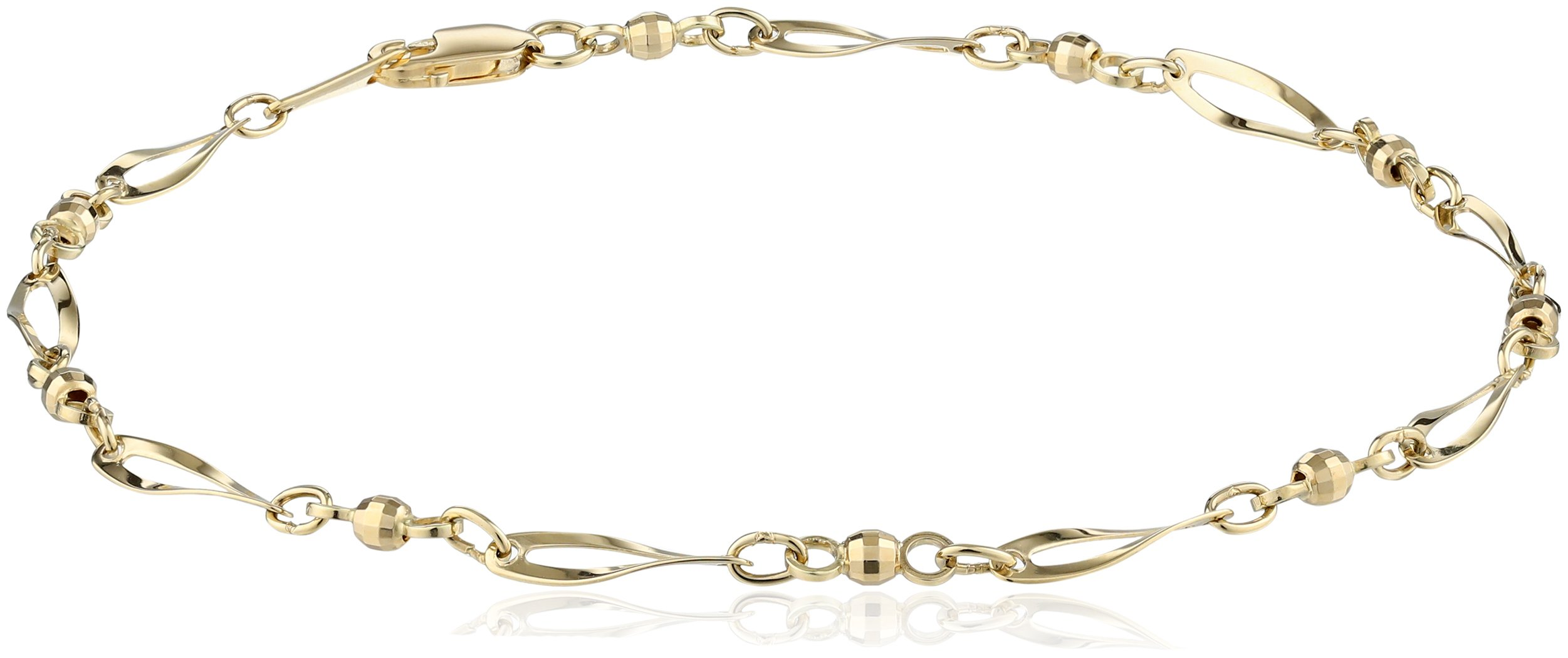14k Yellow Gold Bead and Twist Link Anklet, 9.5''