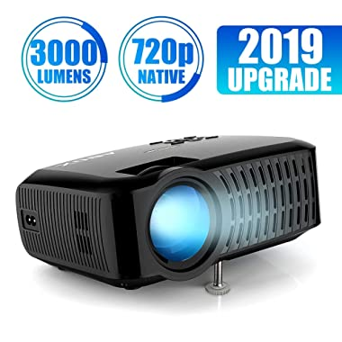 Projector, ABOX A2 LED Movie Video Projector with Full HD Native 720p, 100 ANSI Lumen, 180  Big Screen, Hifi Speaker, Support 1080p with HDMI/USB/SD Card/VGA/AV Ports For Home Theater/Laptop/TV/Phones