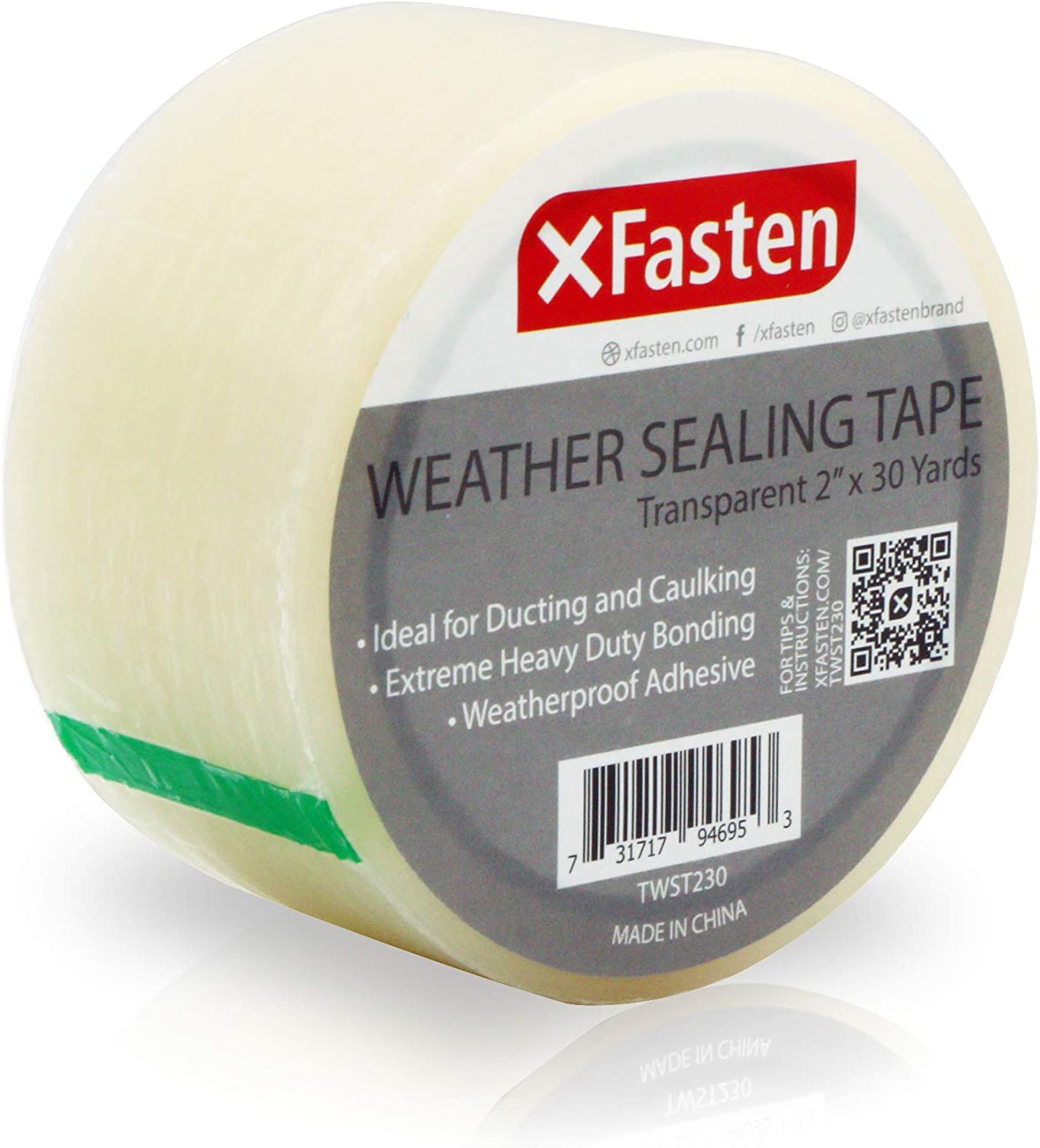 XFasten Transparent Window Weather Sealing Tape, 2-Inch x 30 Yards, Clear Window Draft Isolation Sealing Film Tape, No Residue