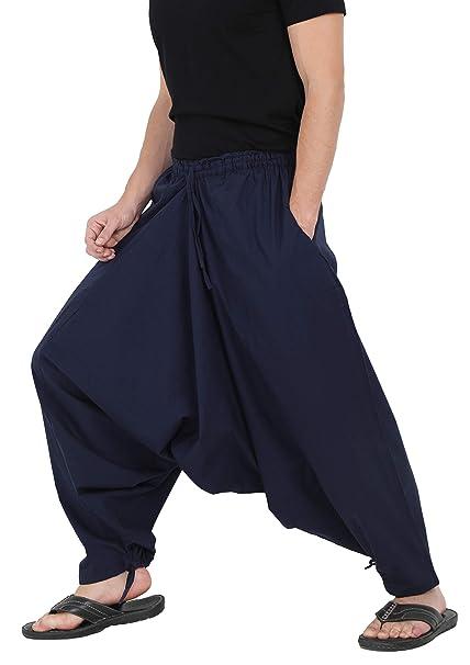 The Harem Studio Hombre Mujer Pantalones Harem Unisex Ligeros, Hippies, algodón, Casual, Boho, Hechos a Mano para Yoga - 2 Bolsillos Profundos