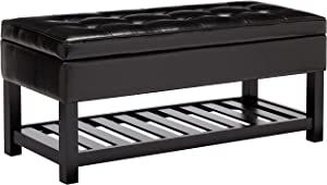 First Hill Damara Wood Storage Ottoman Bench with Open Bottom and Faux-Leather Upholstery, Jet Black