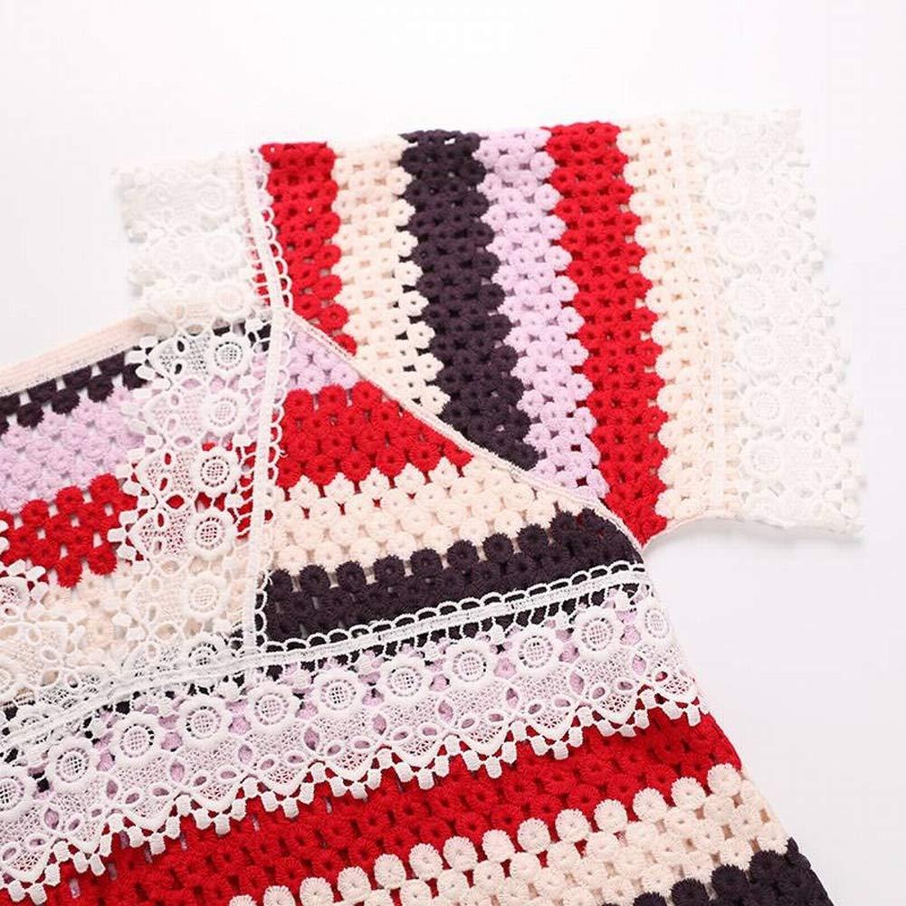 Katylen Frauen Spitze V-Ausschnitt Streifen Farbe Block Sexy Sexy Sexy Crochet Openwork Strickkleid B07GVG4H4T Bekleidung Heißer Verkauf 56331e