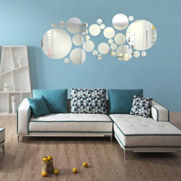 Ikevan 1 Set 27 Pcs Acrylic Art Modern 3D Mirror Round Wall Stickers DIY Home