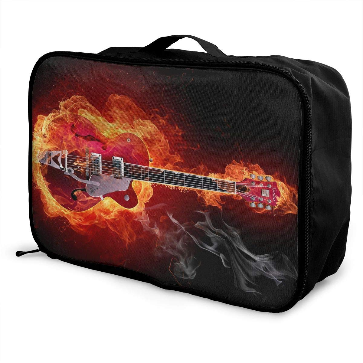 Travel Luggage Duffle Bag Lightweight Portable Handbag Fire Guitar Print Large Capacity Waterproof Foldable Storage Tote