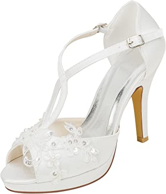 Emily Bridal Wedding Shoes Womens Silk Like Satin Stiletto Heel Closed Toe Pumps