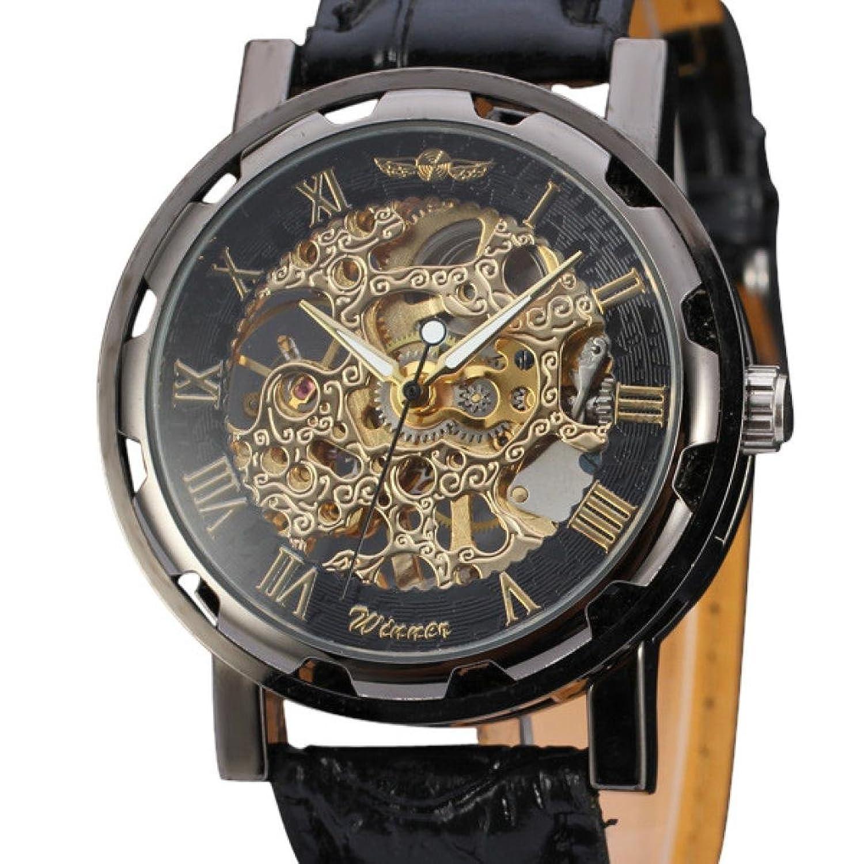 メンズ腕時計、Tominクラシックメンズブラウンレザーダイヤルスケルトン機械スポーツArmy腕時計 ゴールド B071L25CW5