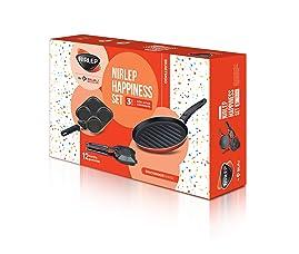 Nirlep by Bajaj Electricals 3-Piece Non-Stick Breakfast Gift Set (Multi Snack Maker 2.2 mm, Sandwich Griller 2 mm & Grill Tawa Pan 26 cm Diameter)